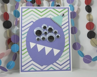 Party Monster - purple blue green - zig zag - monster birthday - googly eyes - googly eyed monster - kids birthday