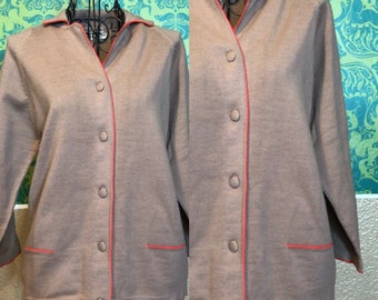 Vintage 1950s Sweater - Camel Color Cardigan with Pink Piping - S M