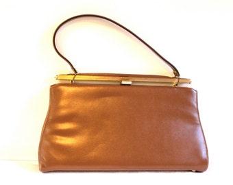 Vintage Brown purse 1960s Mar-Shel Grace Kelly style purse handbag