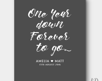 One year down forever to go anniversary print personalised gift choose your colour