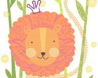 "Lion print 8""x10"" Archival Print - children's wall art - nursery poster"