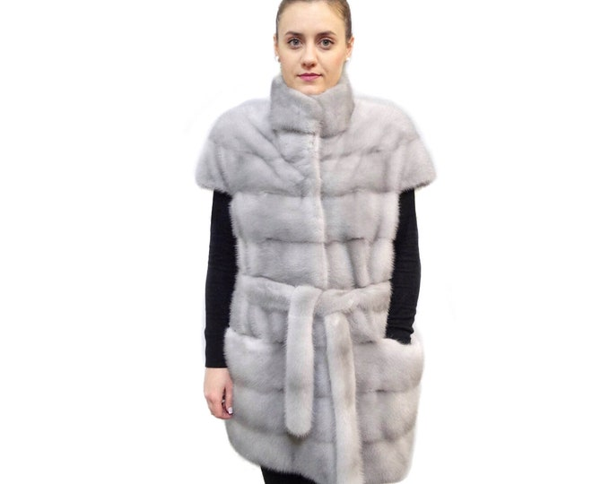Fur mink Vest,Long Sleeveless jacket F530