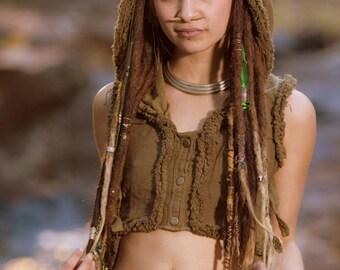 Raw Maya Vest (Masala) - Festival Clothing Boho Gypsy Hoodie Festival Tribal Hippie Big Hood Lace Bohemian