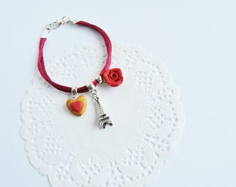 Paris in love romantic bracelet, Valentine's Day gift, red bracelet with charms Tour Eiffel, heart and Red Rose