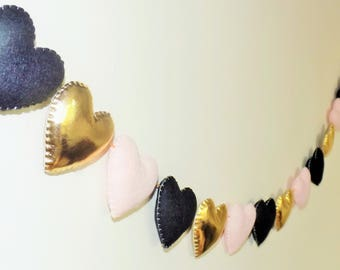 Pink gold black nusery, pink and gold nusery, nursery decor, baby shower garland, photo prop, heart garland