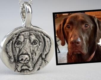 Dog Portrait Necklace Custom Pet Portrait Personalized Sterling Silver