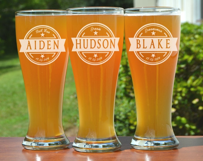 Featured listing image: 7 Groomsmen Pilsner Glasses, Personalized Beer Glass, Engraved Glasses, Beer Mug, Wedding Party Gifts, Gifts for Groomsmen, 16oz Glasses