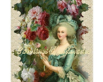 """Marie Antoinette #19 Collage Cotton Fabric Quilt Block (1) @ 5X7"""" on 8.5X11"""" Sheet"""