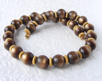 Chic Accessocraft NYC Emperador Brown Moonglow Beaded Necklace Large Chunky 15mm Moon Glow Beads Golden Bronze Gold Signed Costume Jewelry