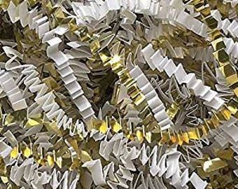 6oz White Gold Crinkle Cut Paper Shred Filler Metallic Gift Wrapping Basket Filling Gift Bags Favor Packaging Colored Mix Shredded Paper