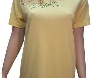 Sunflower Rhinestone Embellished Bling Yellow Short Sleeve Shirt