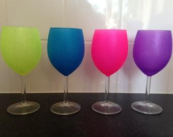 Set of 4 neon glitter wine glass summer gift