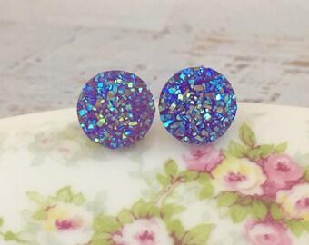 Purple Druzy Studs, Druzy Stud Earrings, Purple Stud Earrings, Glitter Stud Earrings, Surgical Steel Studs (SE9)