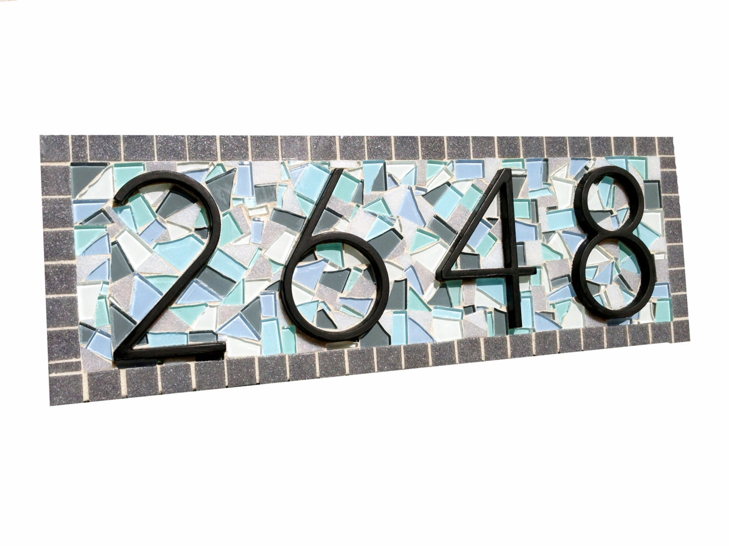 Mosaic address plaque outdoor house number sign custom zoom dailygadgetfo Gallery