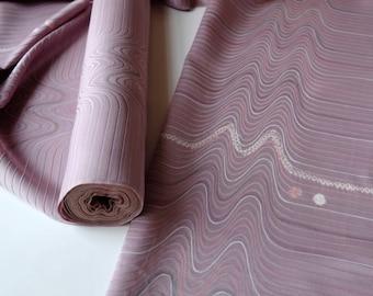 Lavender Purple Silk Kimono Fabric unused bolt by the yard shibori and embroidery heartbeat pattern striped texture 100% silk OFF the bolt