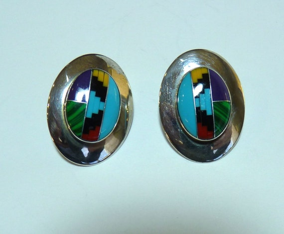 EARRINGS ~ MULTI STONE ~ Navajo Silversmith Edith James ~ Lovely Vintage ~ Free Shipping