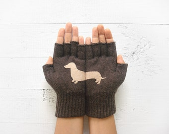 Pet Gift, Dachshund Gloves, Animal Gloves, Pet Paradise, Half Finger Gloves, Gift For Friend, Dog Lover Gift, Sales Event, Pet Gloves, Dogs