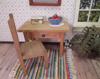 "Vintage Wooden Dollhouse Furniture - ""White House"" Kitchen Work Table or Desk and Chair - 1"" Scale"