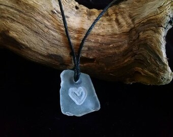 Sea glass heart pendant necklace