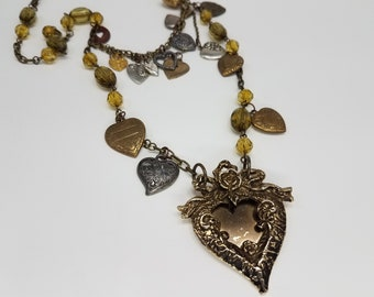 Vintage Heart Charm Necklace, Multi Chain Necklace, Long Boho Necklace, Heart Jewelry, Repurposed Jewelry, Assemblage Jewelry