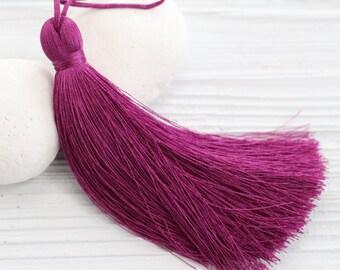 Plum fuchsia silk tassel, thick tassel, large tassels, silk tassel, jewelry tassels,thread tassel,decorative tassels,long tassel,magenta,N12