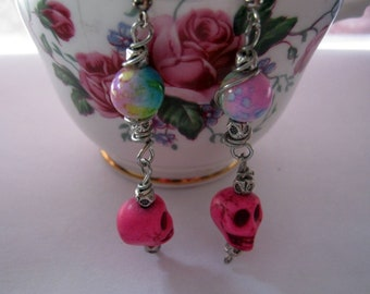 Sugar Skulls Day of the Dead Bubble Gum Pink Blue Gothic  Earrings