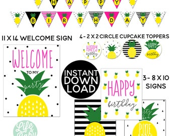 INSTANT DOWNLOAD | Pineapple Party Pack | Pineapple Invitation Coordinating Printables | Pineapple Banner | Printable Pineapple Party