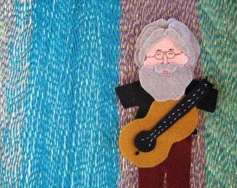 Jerry Garcia Felt Finger Puppet with Guitar Jerry Garcia Stocking Stuffer Deadhead Ornament Jerry Garcia Christmas Tree Topper Jumbo Sized