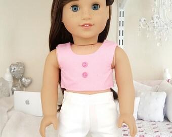 18 inch doll pink crop top