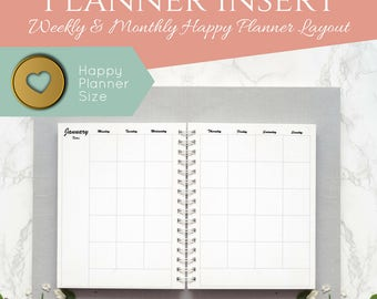 "Week and Month Box Style and Hourly Layout Happy Planner Inserts. Printable. Two Page Week Layout. 7"" x 9.25""."