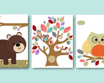 Orange Green Gray Owl Bear Tree Canvas Art Nursery Wall Art Baby Room Decor Baby Nursery Decor Baby Boy Nursery Kids Wall Art set of 3