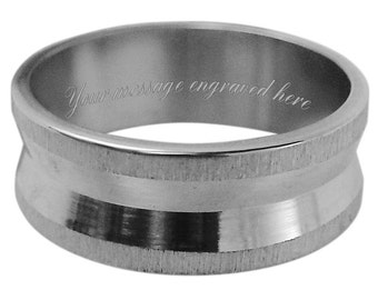 Men's engraved personalised ring size L M N O P Q R S T U V W + gift box -ref UM