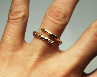McCarren Park Solid Gold Twig Ring -open wrap