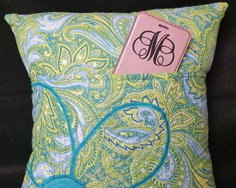 Handmade Decorator Pillow Cover with Machine-Embroidered Flower Accent and Pocket Front