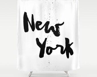 New York Shower Curtain, New York City Decor, Black and White Shower Curtain, New York Shower Curtain, Modern Decor, Standard or Extra Long