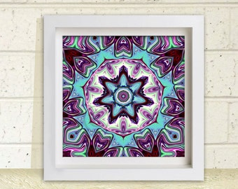 Printable Wall Art,  7.5 inch square, Meditation Art, Digital Image, Instant Download, Star Art Print, Purple Green and Aqua Star Wall Art