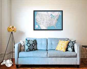 Framed Push Pin travel map / United States travel map / Large push pin map for you travels / Travel pinboard / Anniversary gift for couple