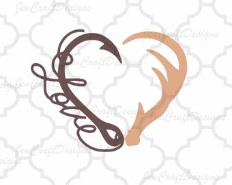 Interlocking Hook and Antler svg Heart Love Cutting File Set in Svg, eps, dxf and PNG Format for Cricut and Silhouette, Hunting Fishing