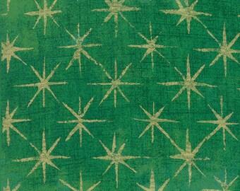 Grunge Seeing Stars Metallic Kelly Green - Basic Grey - 30148 45M - Metallic Stars - Moda Fabrics