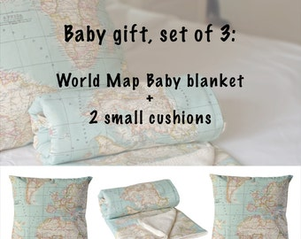 World Map Baby. Set of 3: 1 Map Baby blanket, 2 map cushions, toddler bedding. Crib decor, crib map decor, Baby gift, minky baby blanket.