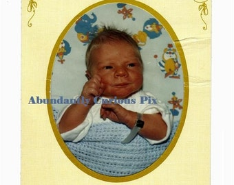 newborn hospital snapshot in paper folder, vintage photo, January 9 1983, baby boy Thomas Gumola