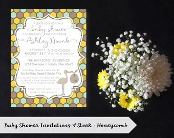 Stork Baby Shower Invitation | Honeycomb | Yellow, Blue, Green | Gender Neutral | DIGITAL/PRINTABLE/DIY