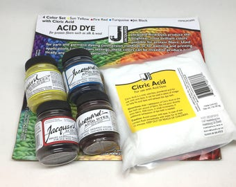 Jacquard Acid Fabric Dye Starter Pack Set For Silk Wool Cashmere and Feathers -  4 Colours