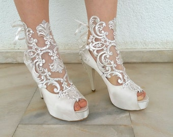 Lace wedding shoes ivory bridal shoes with sheer lace and wedding shoes sparkly bridal boots ivory satin with embellished lace and rhinestones junglespirit Images