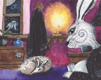 Majickal visitor - Matlock the Hare - Whimsical magical moonlit signed archival art print.