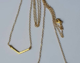 Hammered Gold Chevron Necklace, size small and large, 16.5in chain hypoallergenic