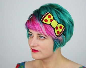 Pepperoni Pizza Bow Headband, Fast Food- Black FRiday Cyber Monday