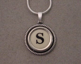 Typewriter key jewelry necklace CREAM  LETTER S  Typewriter Key Necklace - Initial S serif font Initial Necklace S