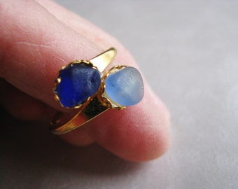 Cobalt and Cornflower Blue Ring - Sea Glass Ring - Beach Glass Ring - Unique Eco Ring