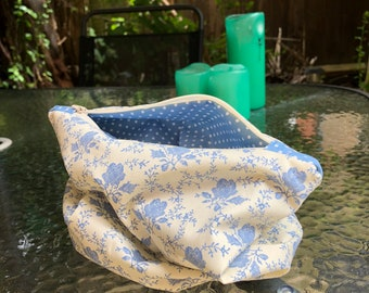 Blue and Cream Cabbage Rose and Polka Dot Slouchy Accessories Bag